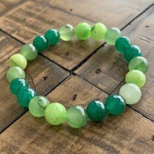 8mm Mixed Green Jade Stretch Bead Bracelet